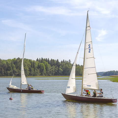 Sailing with Soling boat