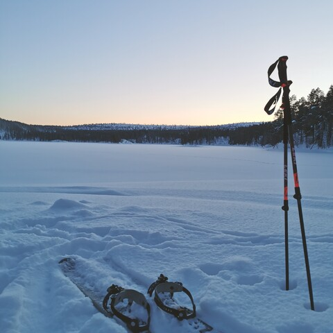 Rent sliding snowshoes & poles for a day