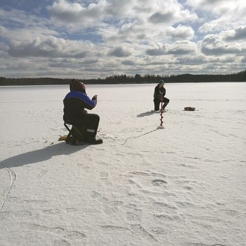 Ice Fishing on a lake