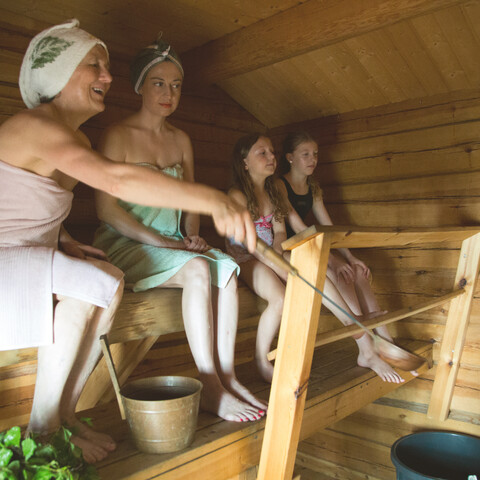 Sauna in the middle of the day!