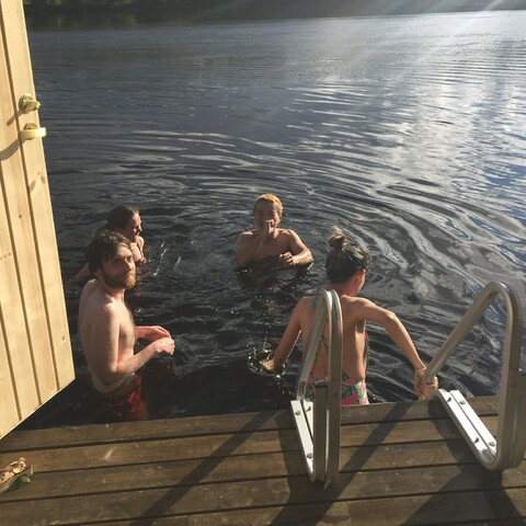 Floating Sauna and Swimming in the Ounasjoki River