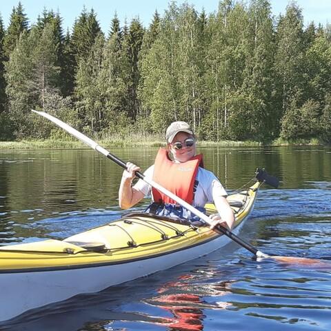 Kayaking on lake Orivesi