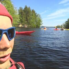 Kayaking in lake Orivesi
