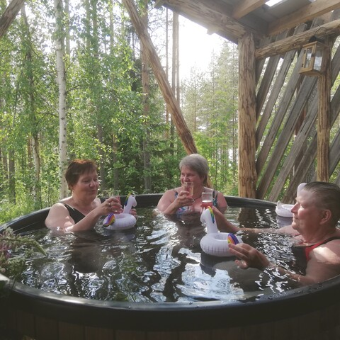 Traditional finnish sauna with herbal footbath