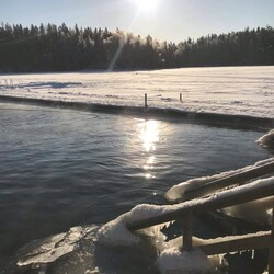 Ice swimming in a lake