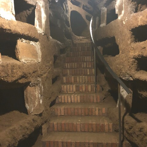 Ancient Roman catacombs and gastronomy